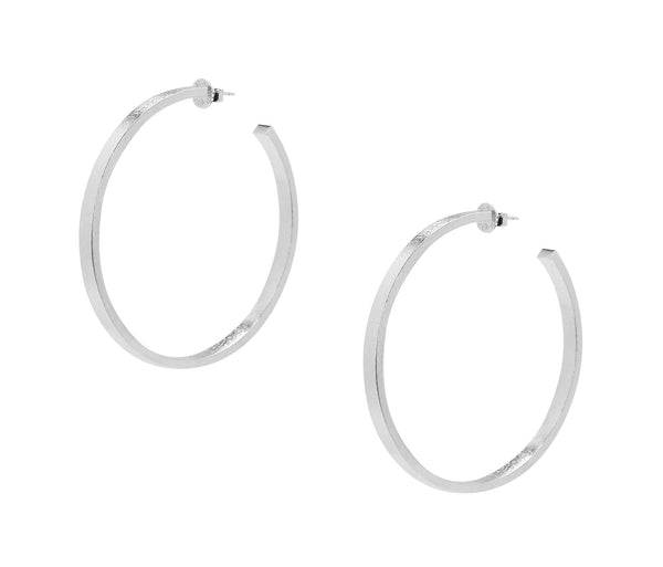 image of Sheila Fajl Lunaria Statement Hoop Earrings in Silver Plated