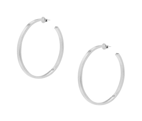 Sheila Fajl Lunaria Statement Hoop Earrings in Silver Plated