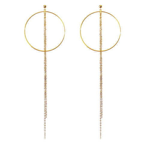 Yunis K Hoop and Chain Statement Earrings in Gold Plated