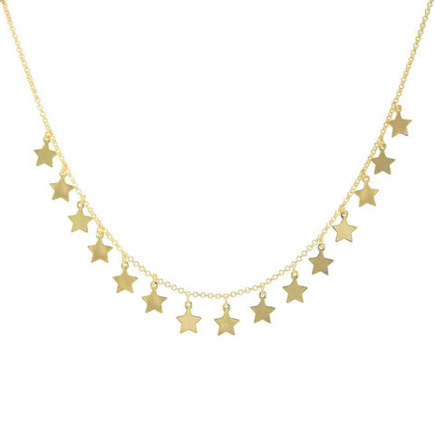 Sheila Fajl Capella Multi Star Charm Dangle Necklace in Gold Plated