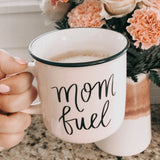 Light Pink Campfire Style 14 oz Coffee Mug with Mom Fuel Black Writing