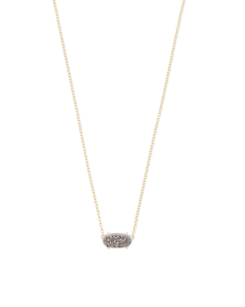 Detail View of Kendra Scott Ever Pendant Necklace in Platinum Drusy and Gold Plated