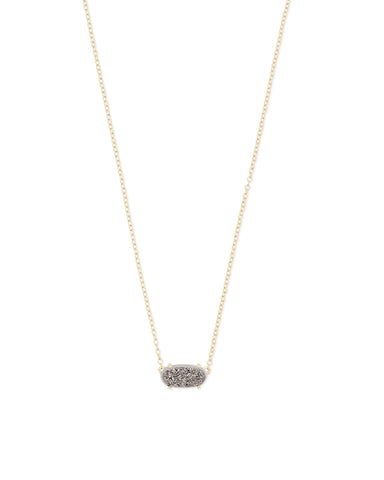 Kendra Scott Ever Oval Pendant Necklace in Platinum Drusy and Gold