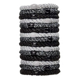 image of stacked L. Erickson Grab and Go Pony Tube Hair Ties in Black Metallic 15 Pack