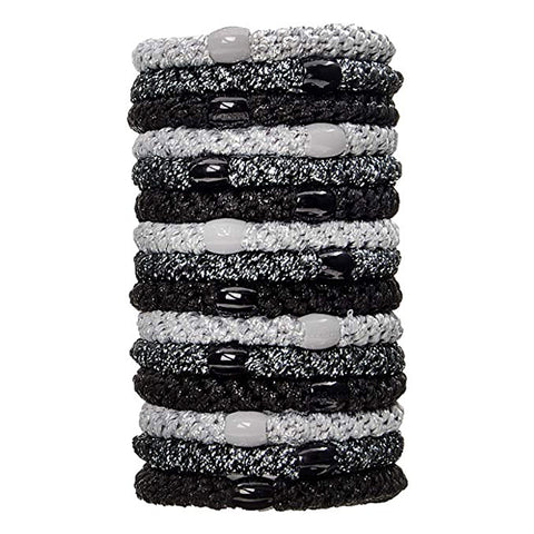 L. Erickson Grab and Go Pony Tube Hair Ties in Black Metallic 15 Pack