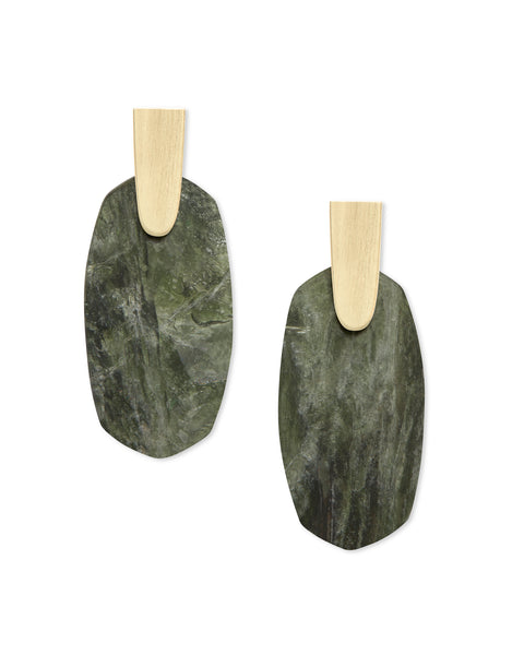 pair of Kendra Scott Aragon Dangle Earrings in Sage Mica and Gold Plated