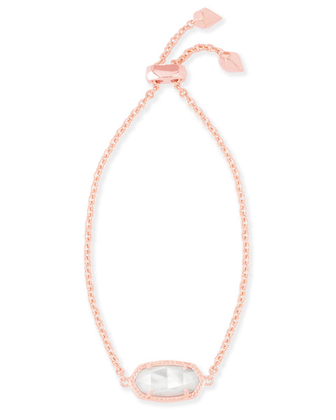Full View of Kendra Scott Elaina Oval Chain Bracelet in Ivory Pearl and Rose Gold