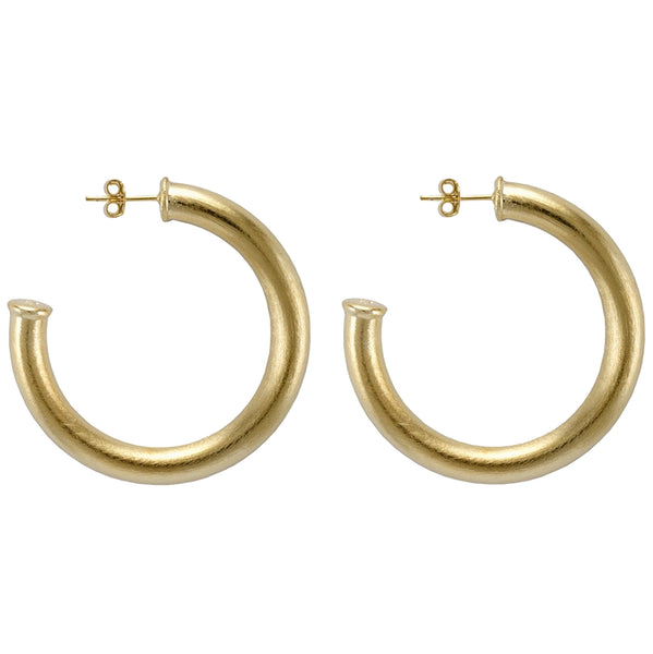 Sheila Fajl Thick Chantal Hoop Earrings in Brushed Gold Plated