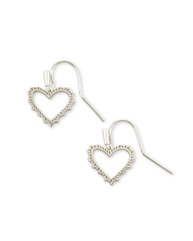Kendra Scott Sophee Small Heart Drop Earrings in Rhodium Plated