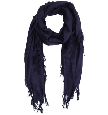 Blue Pacific Tissue Solid Modal and Cashmere Scarf in Dark Purple