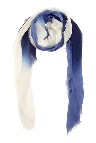 Blue Pacific Dream Cashmere and Silk Scarf in Denim Coconut 47 x 37