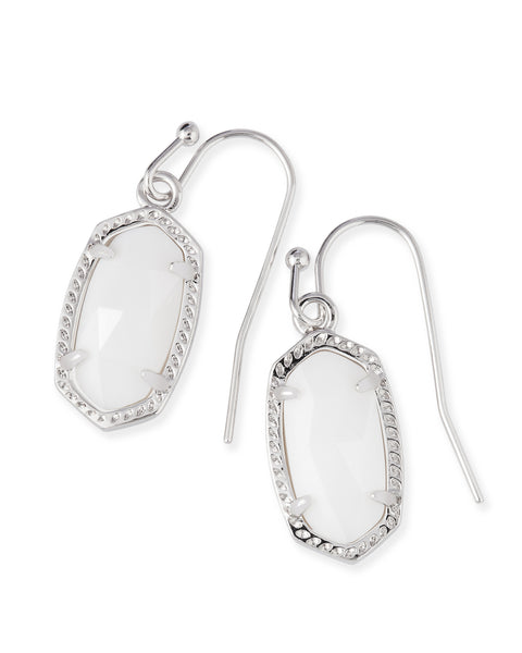 Kendra Scott Lee Dainty Drop Earrings in White Pearl and Rhodium Plated