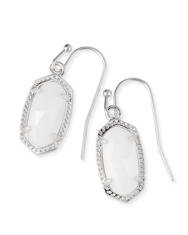 Kendra Scott Lee Oval Drop Earrings in White Pearl and Rhodium