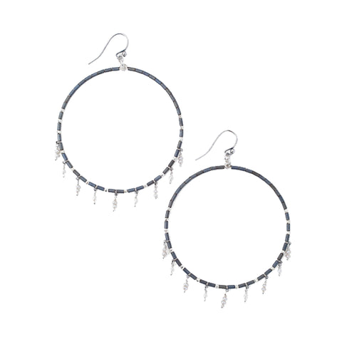 Chan Luu Silver Hoop Earrings in Gunmetal Seed Beads with Pearl Charms
