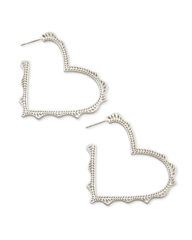 Kendra Scott Sophee Heart Hoop Earrings in Rhodium Plated