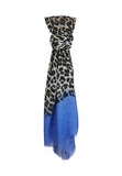 Knotted Hang Blue Pacific Animal Print Cashmere and Silk Scarf in Denim and Snow