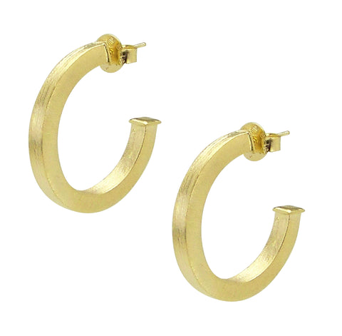 Sheila Fajl Ilana Bold Square Tube Hoop Earrings in Gold Plated