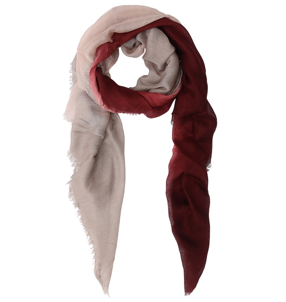 Blue Pacific Dream Cashmere and Silk Scarf in Burgundy Taupe 47 x 37