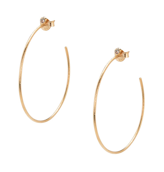 Sheila Fajl Briana Hoop Earrings with CZ Accent in Rose Gold