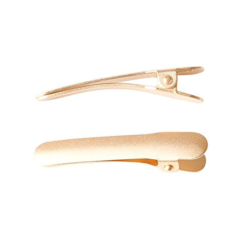 Ficcare Ficcaritos Hair Clip Pair in Matte Gold Plated