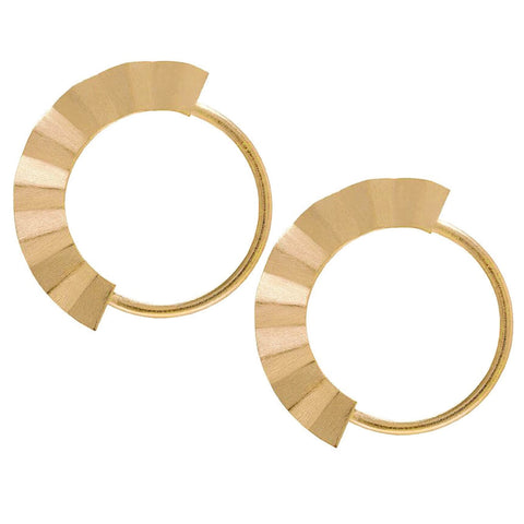 Sheila Fajl Malaga Fan Hoop Earrings in Champagne Plated