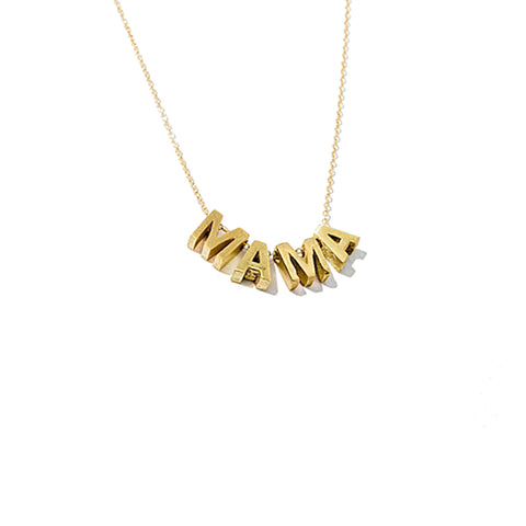 Larissa Loden MAMA Lettered Pendant Necklace in 24k and 14k Gold Plated
