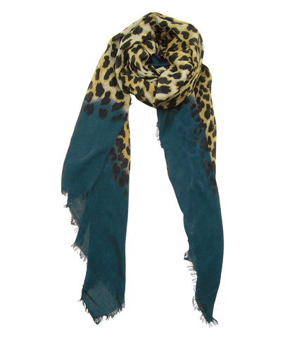 Blue Pacific Animal Print Cashmere Silk Scarf in Dark Teal Tan 78 x 22