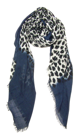 Blue Pacific Animal Print Cashmere and Silk Scarf in Navy and Snow