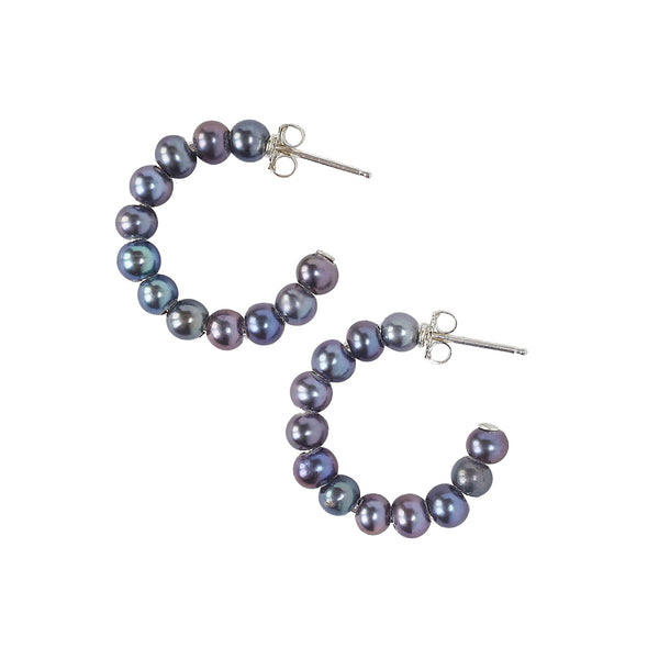 Chan Luu Small Holly Hoops in Peacock Pearl and Sterling Silver
