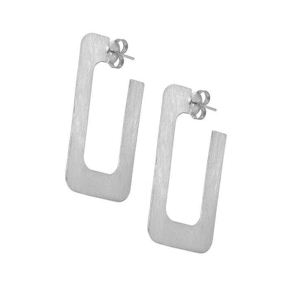 Sheila Fajl 2 inch Rectangular Vada Hoop Earrings in Brushed Silver