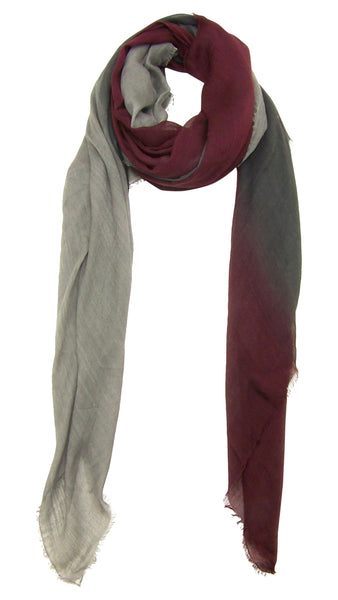 Blue Pacific Dream Cashmere and Silk Scarf in Burgundy Gray Taupe