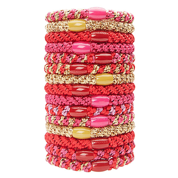 image of L.Erickson Grab and Go Pony Tube Hair Ties in Lipstick 15 Pack
