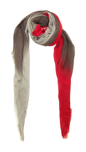 Primary Rolled Blue Pacific Dream Cashmere and Silk Scarf in Red Pear Taupe Grey