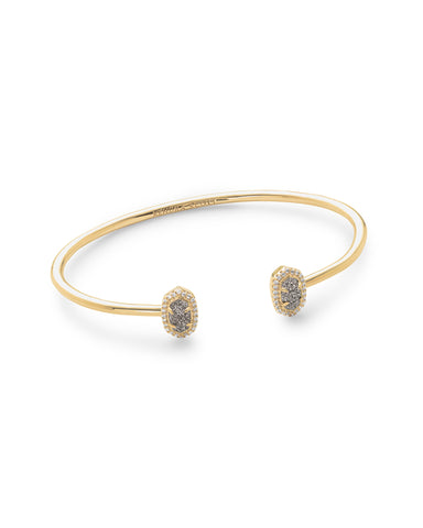 Kendra Scott Calla Cuff Bangle Bracelet in Oval Platinum Drusy and Gold