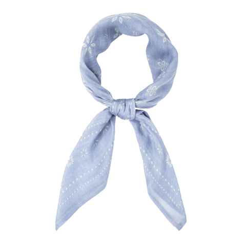 Chan Luu Vintage Print Bandana Scarf in Light Blue Heron