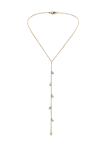 Yunis K Y Chain Necklace in Opals and Gold Plated