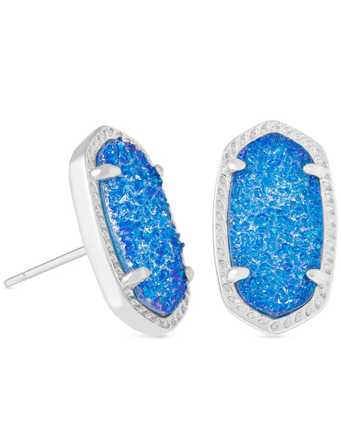 Pair of Kendra Scott Ellie Oval Stud Earrings in Cobalt Drusy and Rhodium