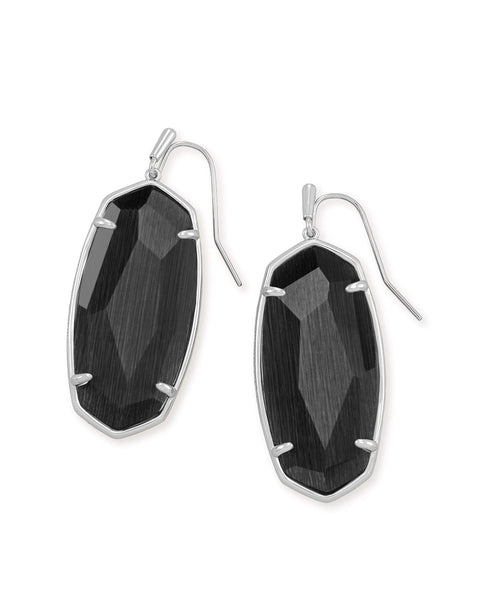 Kendra Scott Elle Oval Earrings in Faceted Black Cats Eye and Rhodium