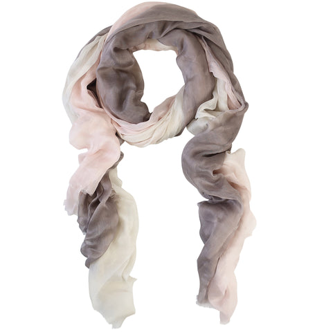 Blue Pacific Dream Cashmere and Silk Scarf in Cream Pink and Taupe