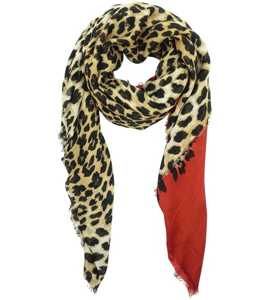 Blue Pacific Animal Print Cashmere and Silk Scarf in Rust Red and Tan