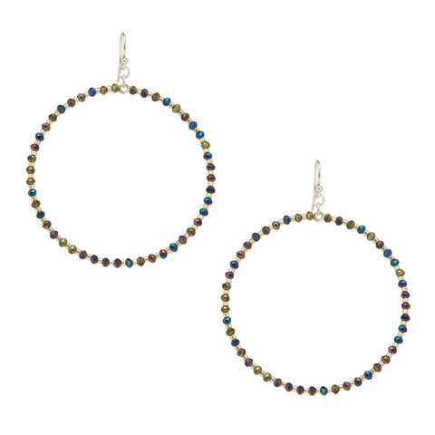 Chan Luu Silver Hoop Earrings with Twilight Crystals and Silver Seed Beads