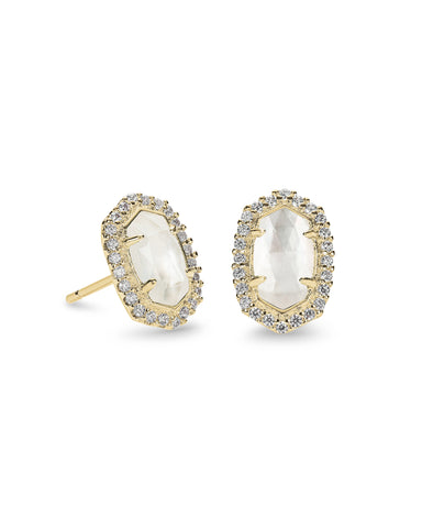 Kendra Scott Cade Oval Stud Earrings in Ivory CZ and Gold