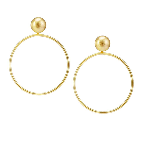 Sheila Fajl Visage Front Facing Hoop Earrings in Gold Plated