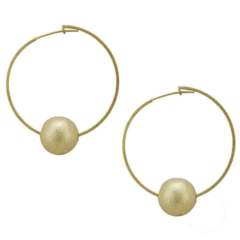 Sheila Fajl Cynthia Thin Eternity Ball Hoop Earrings in Brushed Gold