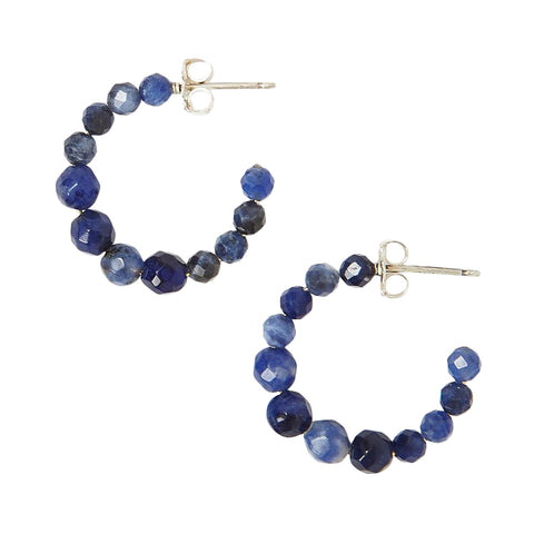 Chan Luu Graduated Stone Small Hoop Earrings in Sodalite and Silver