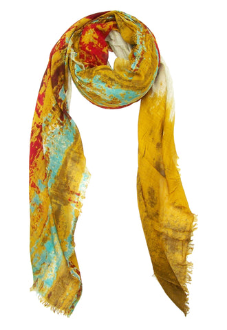 Blue Pacific Cashmere and Silk Scarf in Watercolor Gold and Red