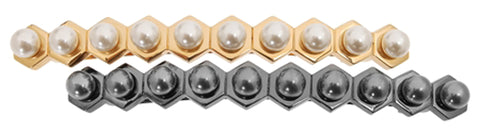 L. Erickson Hexagon Pearl Long and Skinny Hair Barrette