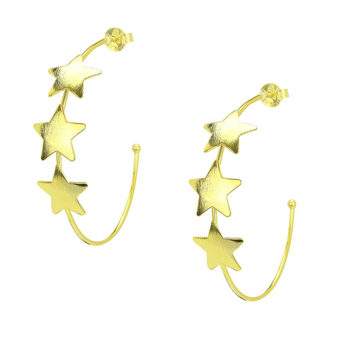 Sheila Fajl Silvina Star Statement Hoop Earrings in Gold Plated
