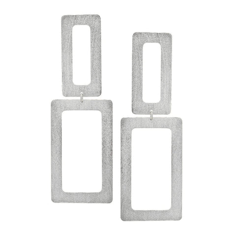 Sheila Fajl Double Open Rectangle Statement Earrings in Silver Plated