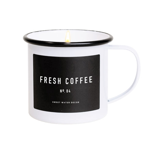 White Coffee Mug 11 oz Candle in Fresh Coffee Scent